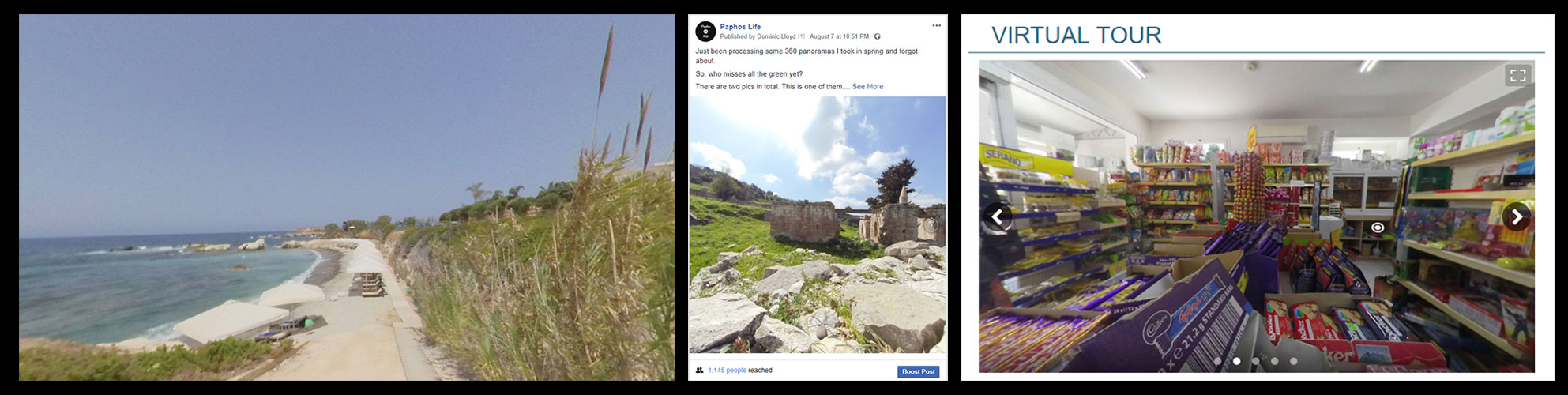 Pictures showing panoramas being used on websites and facebook
